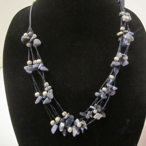 Avon Jewelry - Blue Sodalite Nugget Strung Bead Necklace AVON EUC
